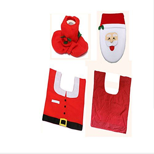 Good done Santa Toilet Seat Cover and Rug Set Red Christmas Decoration Bathroom Set of 3 -- Want additional info? Click on the image.