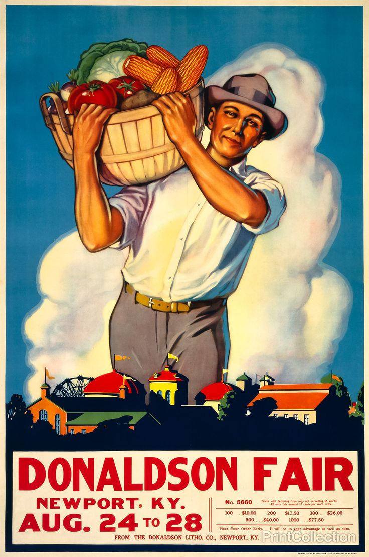 Stock State Fair poster created by the Donaldson Lithograph Co.,åÊNewport, Kentucky in 1935. AåÊchromolithograph at 112 x 77 cm. Sample shows prices for posters, and showing a state fair theme of a ma