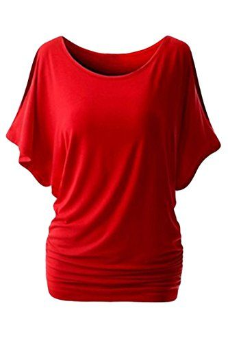 Cutiefox Womens Sexy Cut Out Cold Shoulder Batwing T Shirt Top Red 2XL >>> Visit the image link more details.