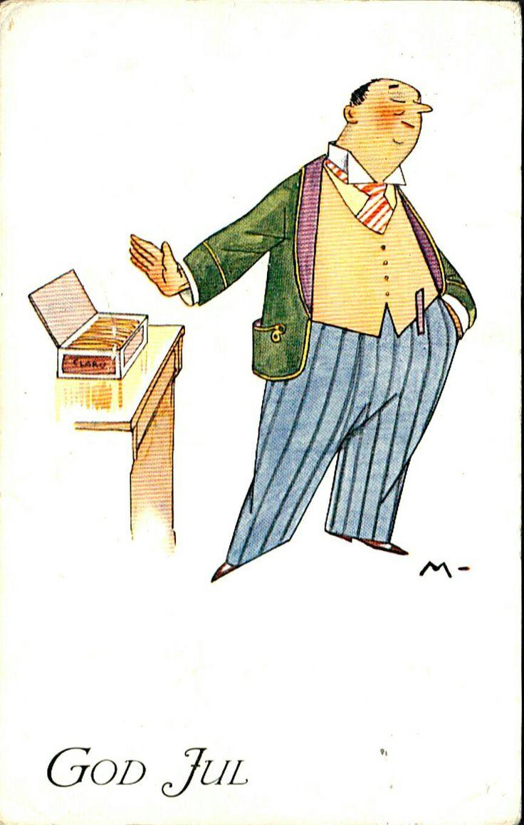 Julekort Ivar Mauritz-Hansen. Mann røyker ikke cigarer. Brukt 1912. Utg Mittet & Co