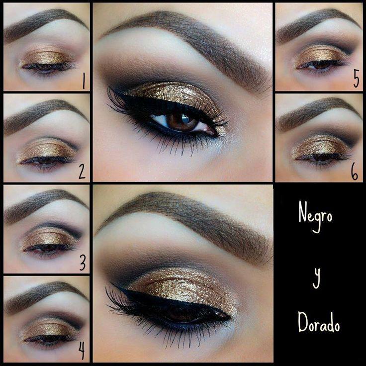 maquillaje de ojos negro y dorado