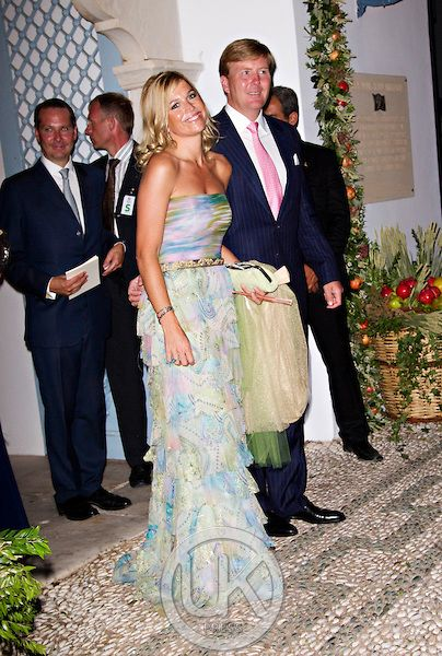Crown Prince Willem Alexander and Crown Princess Maxima of Holland attend The Wedding of Prince Nikolaos of Greece and Tatiana Blatnik at the monastery of Ayios Nikolaos on the Island of Spetses, Greece