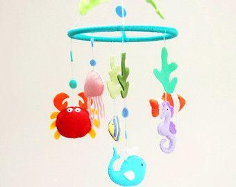 Océano móvil bebé cuna móvil en Caballito de mar por MyMagicFelt