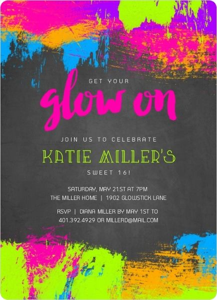 Glow In The Dark Splatter Frame Sweet Sixteen Birthday Invitation from Invite Shop. This would be awesome for a glow in the dark sweet 16 party! #Sweet16PartyIdeas #Sweet16Invitations