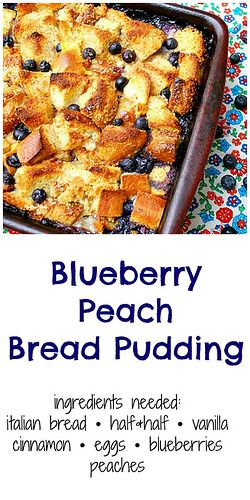Blueberry Peach Bread Pudding is full of plump, sweet blueberries, bites of fresh peaches and buttery {gluten free!} brioche all baked in a creamy custard. With either whipped cream or even ice cream, this is a comforting summer treat!