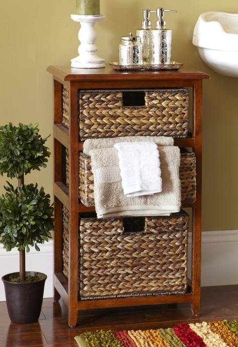 Give your home some island-inspired storage. Cheap and Easy to Do. Any large baskets and an old shelf from the thrift store will make this look crafty and unique in a pinch!