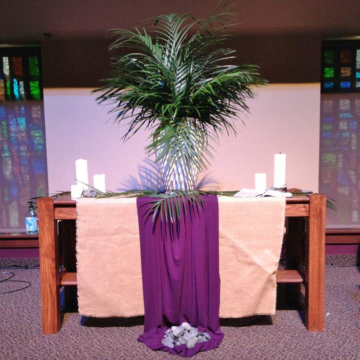 353 best images about church decor ideas lent palm for Altar wall decoration