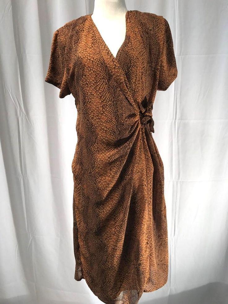 Mlle Gabrielle Womens Faux Wrap Dress Short Sleeve Animal Print Brown Size 12 #MlleGabrielle #WrapDress #Casual