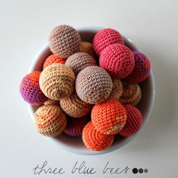 Crochet Balls - Ornament - Crocheted Ball - Cat Toy - Crochet Applique - Colorful Balls - Pet Toys- Baby Teething
