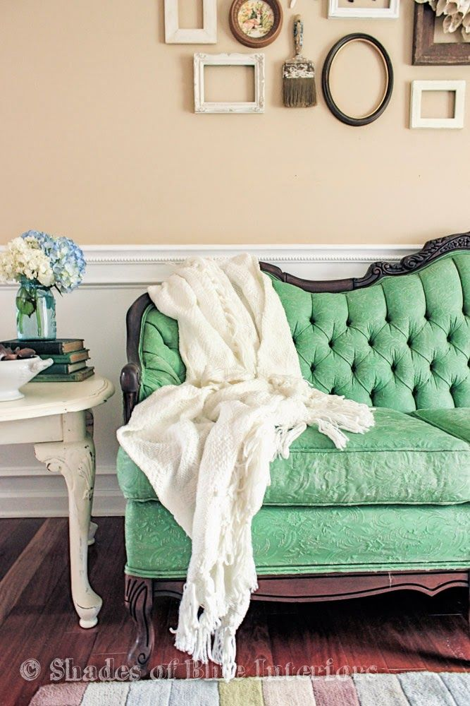 Antibes Green mixed with Aubusson Blue Chalk Paint® decorative paint by Annie Sloan on a sofa | By Shades of Blue Interiors