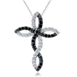.30CT Black & White Diamond Infinity Pendant 14K White Gold - $199