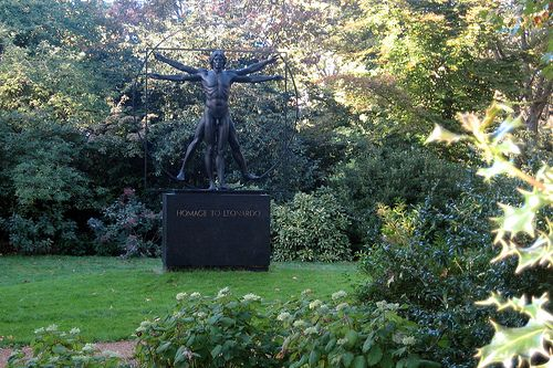 """visit: """"Belgrave Square"""" The Homage to Leonardoin in Knightsbridge the Vitruvian Man, by Italian sculptor Enzo Plazzotta (1921-81), completed by his assistant Mark Holloway in 1982, and sponsored by Mr. and Mrs. John M Harbert III, of Birmingham, Alabama, is the only statue that sits within the fenced private garden of Belgrave Square."""