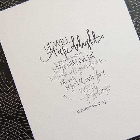 handwritten art original | zephaniah 3.17 #TruthinWrit