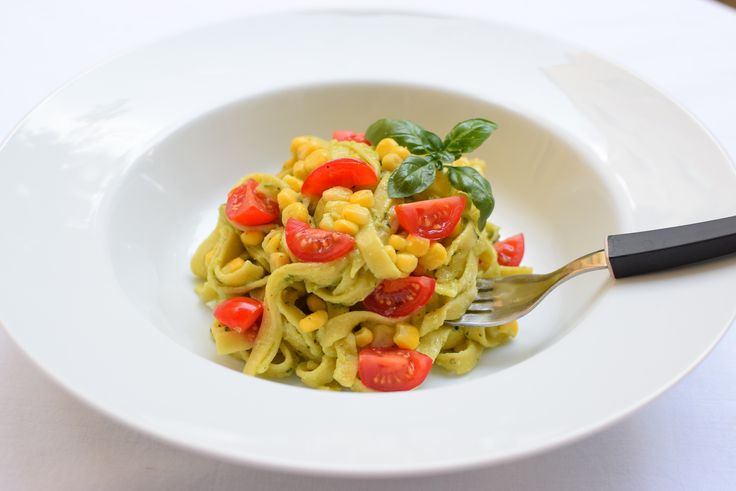 pasta with avocado, cherries and corn