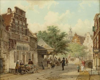 Cornelis Springer | 1817-1891 - Stadsgezicht Oudewater