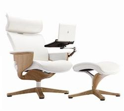 eurotech nuvem white leather reclining executive chair with tablet arm and ottoman