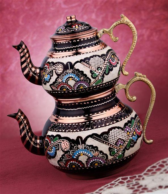 Nostaljik Hediyelik Özel Erzincan El İşlemeli Bakır Çaydanlık