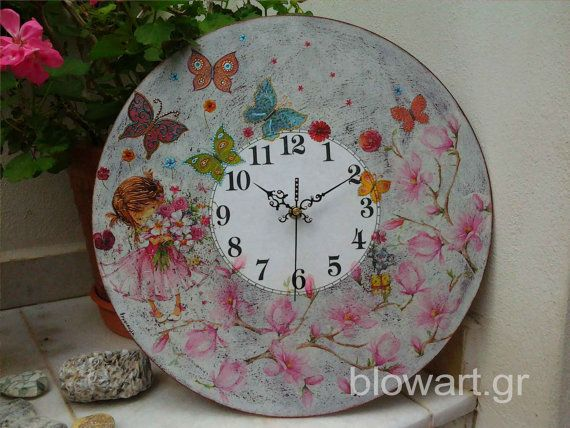 Wall clock Mary's Garden  Shabby Chic  Decoupaged home by Blowart, €45.00