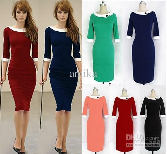 2013 New Fashion Formal Pencil Vintage Womens Pinup Rockabilly Colorblock Bodycon Stretch Shift Wiggle Pencil Dresses US $16.91