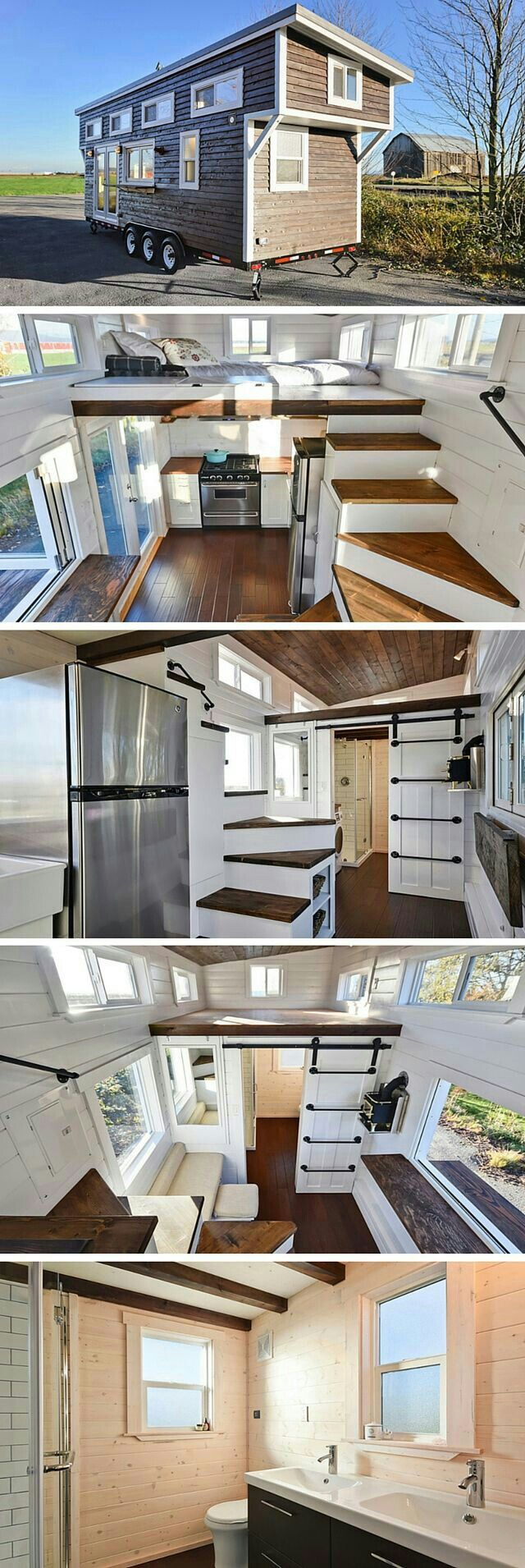 TinyHouse w/ the 2 lofts & steps as counterspace in kitchen & the fold down counter/shelf &  the ladder to other loft on the outside of bathroom slide barn like door.
