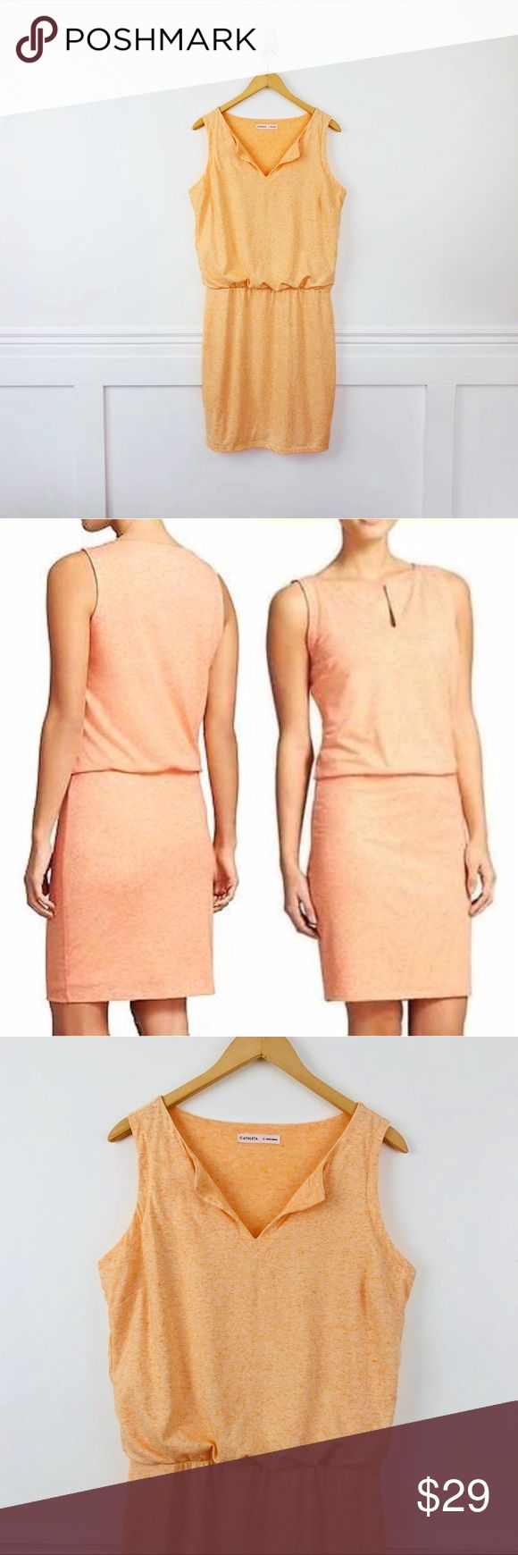 "Athleta Vida Dress Athleta Vida Dress in Tiger Lilly (peach)  Sleeveless blouson top and fitted skirt. Notched neckline, elastic waist. Lined.  Polyester, linen and spandex.   Size M  Bust 20.5"" Waist 15"" Length 40"" Athleta Dresses"
