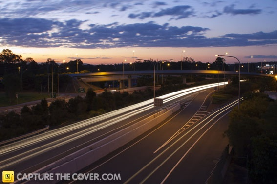 Light trails made by cars passing along the Mount Lindsay Highway #CaptureTheCover entry - by Ryan in Brisbane's Logan City, Beenleigh Region. Click to enter your photos!