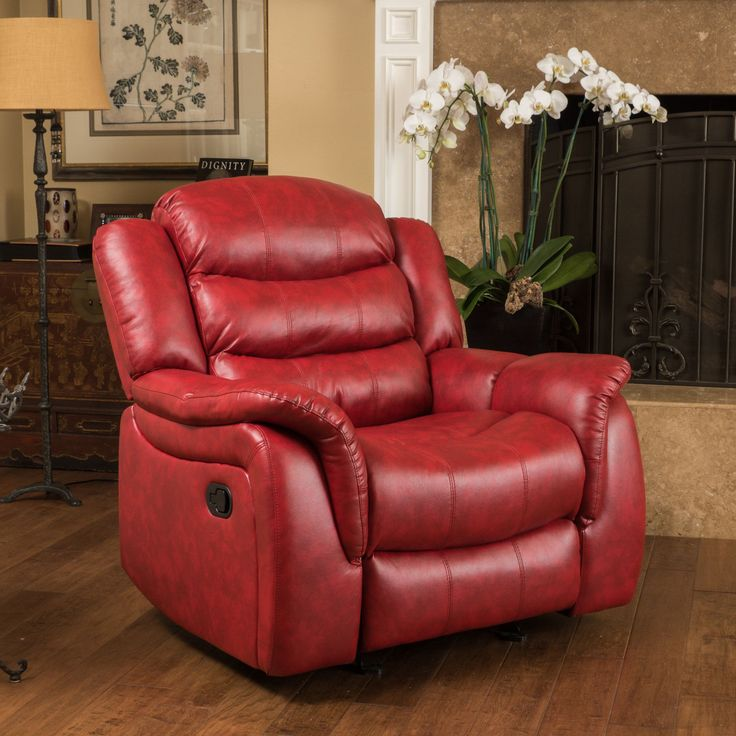 Cheap Sofas Hawthorne PU Leather Glider Recliner Chair by Christopher Knight Home Red Faux Leather