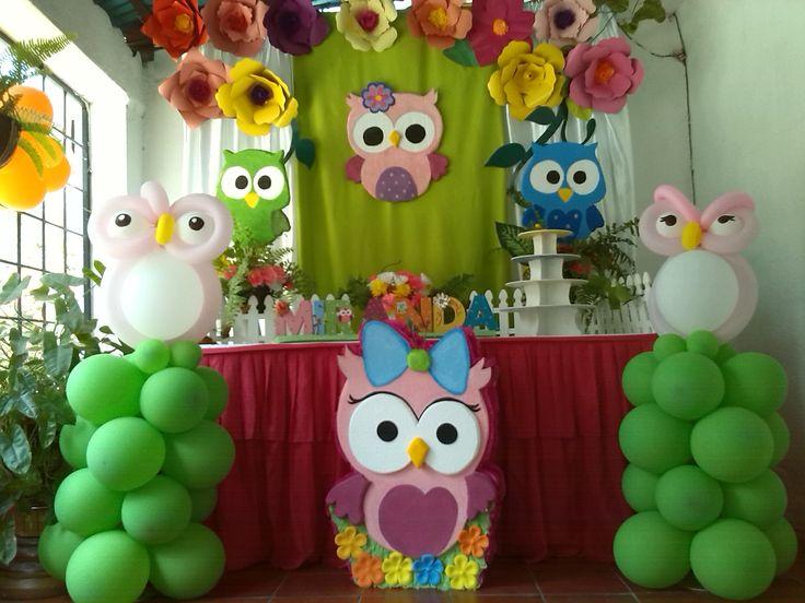 Fiesta de buhos. Piñata de Buho- Flores gigantes