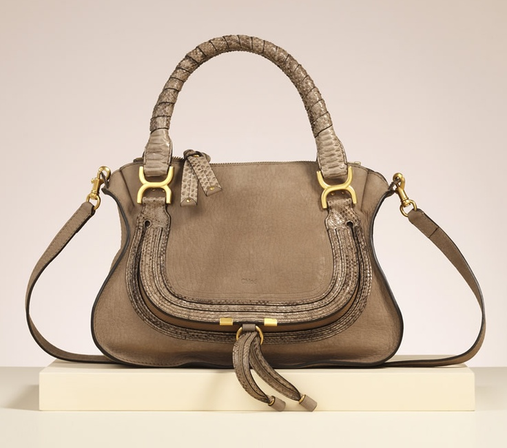 "Chloe ""Marcie"" medium shoulder bag with strap in greige nubuck and glossy python"