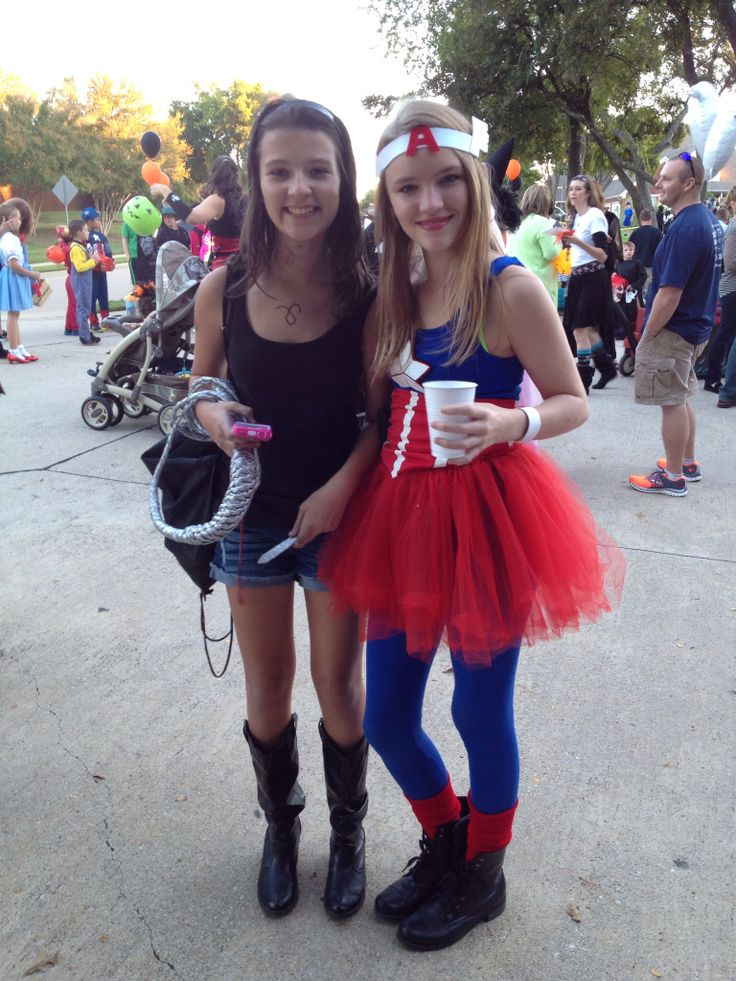 Halloween caption America and a book Character also none as Peyten and Rachel Peyten is my sis and Rachel is my sis friend