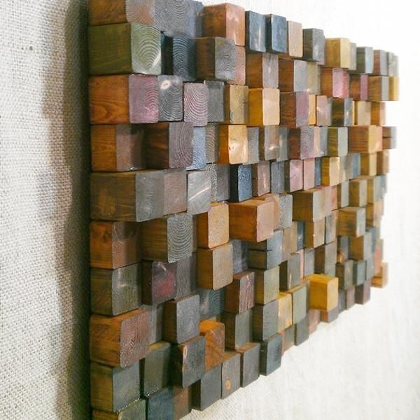 Modern Wall Decoration Patterns Created With Pixel Techniques And Wood Mosaic Wood Diy Wooden Wall Art Wood Mosaic