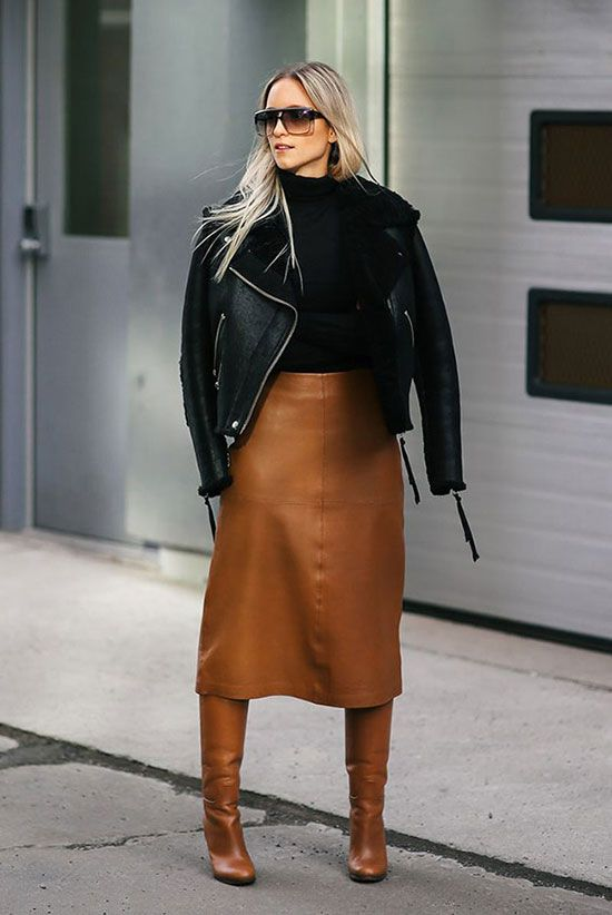 fall outfit, winter outfit, work outfit, office outfit, office style, office wear, street chic style, night out outfit, leather outfit, dinner outfit, edgy outfit, winter trends 2016 - black shearling biker jacket, black turtleneck sweater, brown leather midi skirt, brown leather knee high boots, black square sunglasses