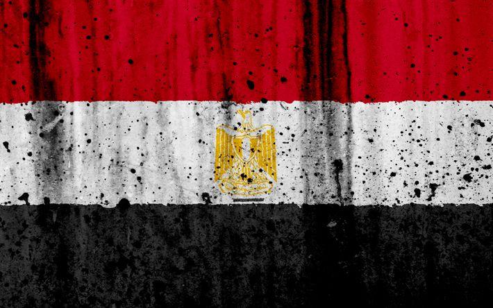 Download wallpapers Egyptian flag, 4k, grunge, flag of Egypt, Africa, Egypt, national symbols, Egypt national flag