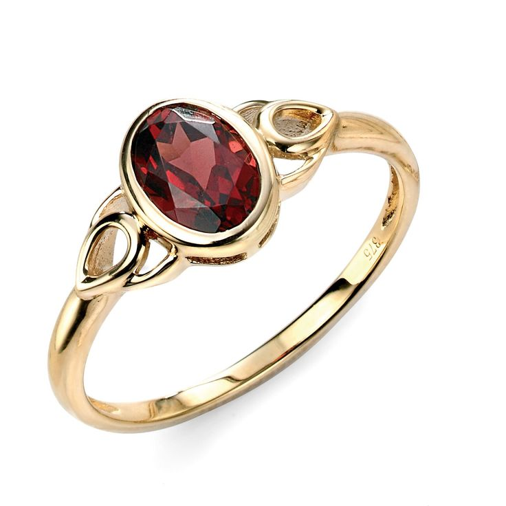 Hallmarked 9ct Yellow Gold Garnet Celtic Style Ring - From the new Elements Gold 2016 collection, this beautifully designed ring delivers a timeless elegance and charm. Expertly crafted using hallmarked 9ct yellow gold and garnets, this piece is supplied with a branded Elements Gold gift box: http://ow.ly/Xy34f