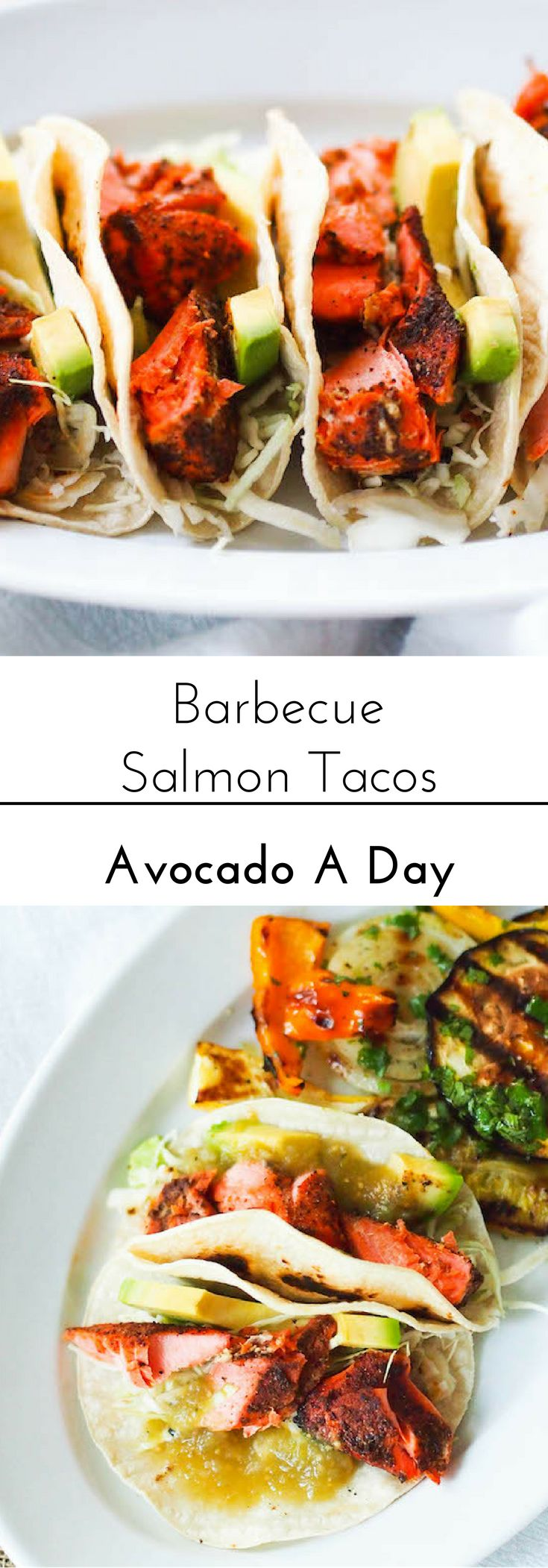 These easy fish tacos get a kick from barbecue spiced salmon! Serve with salsa verde and slaw!