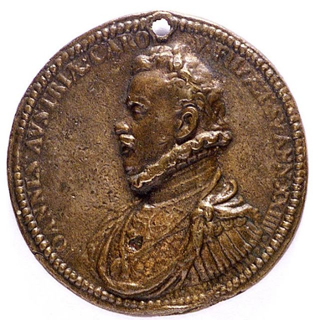 Medal commemorating the Battle of Lepanto, 1571. Obverse: Bust of Don John of Austria in armour and ruff and order (left). 'IOANNES . AVSTRIA . CAROLI . V . FIL . AET . SV . ANN . XXIIII' (John of Austria, son of Charles V, being then twenty-four years of age).  National Maritime Museum, Greenwich, London