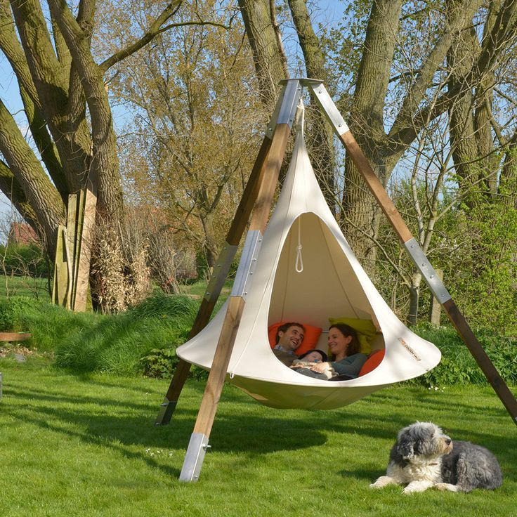 """Inspired by the beautifully stitched together hanging nests of the weaver bird the Cacoon hammock is a perfect tree swing. Designed with cotton and polyester to help retain the soft feel of natural ca  Use couponcode """"PINME""""  for 40% off all hammocks on our site maderaoutdoor.com ❤️"""