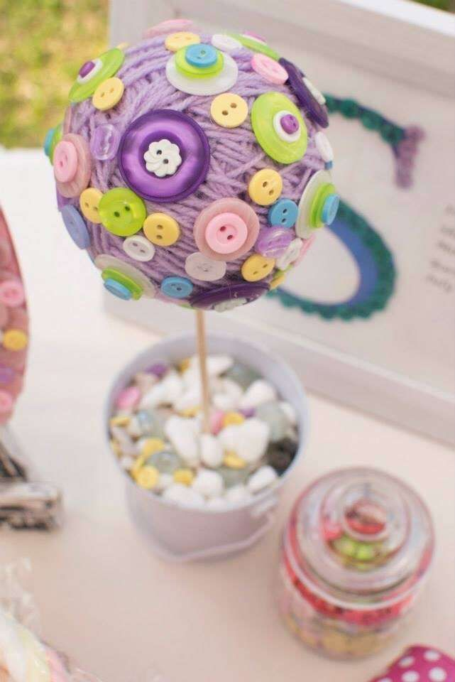 Cute as a button birthday party centerpieces! See more party planning ideas at CatchMyParty.com!