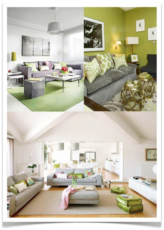 Living Room - grey with greens