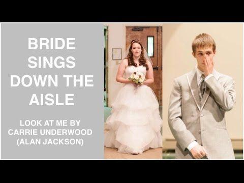 Bride Sings Look At Me As She Walks Down The Aisle