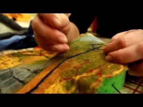 Мастер-класс валяние ткани - www.emozzi.ua - YouTube ------merinovilla taulu / merinowol lontwol schilderij