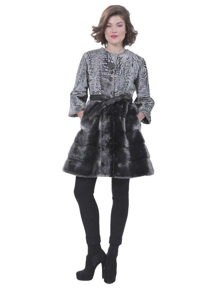 Swakara Jacket with Mink skirt #furs #jacket #women #skirt #fashion #furlone #furfashion #copythelook #musthave #streetstyle #grey