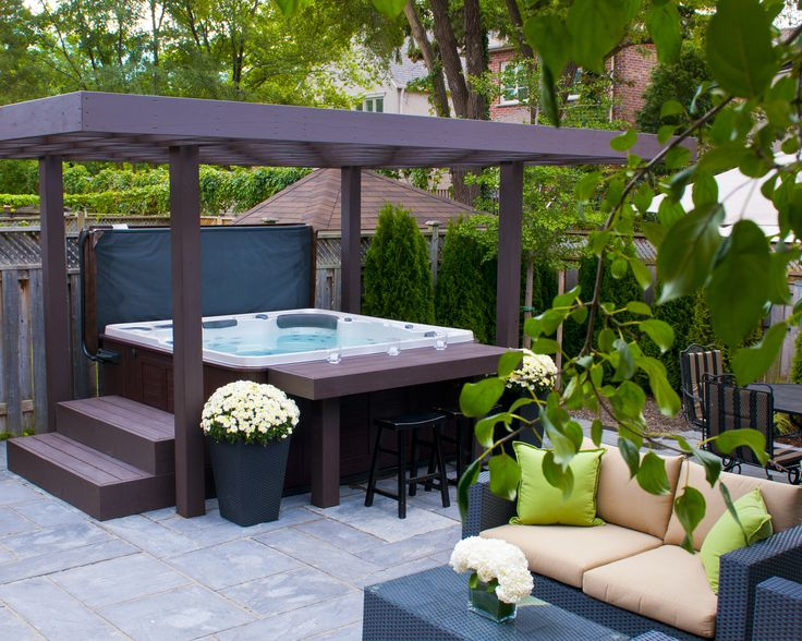 Hydropools amazing 670 self cleaning hot tub with gazebo for Spa et patio