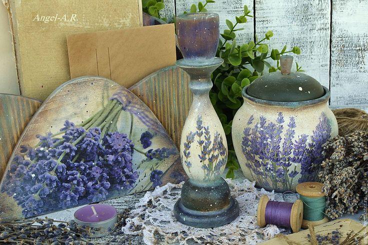Купить Подсвечник деревянный в прованском стиле. - фиолетовый, подсвечник, подсвечник из дерева, подсвечник винтажный
