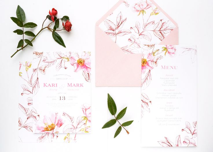 """Wedding invitation suite """"Briar"""" in peach colour. Personalised wedding design based on watercolor painting and ink hand-drawing. Order now on wilove.boutique"""