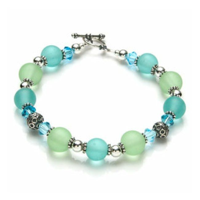 images beaded bracelet | the sea glass bracelet making kit features sterling silver beads