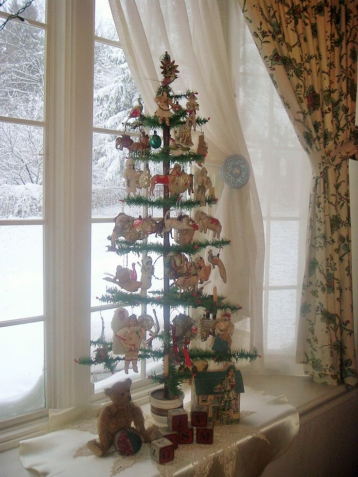 Feather Tree On The Window SeatI Opened Curtains Because Snow Small Christmas TreesVintage