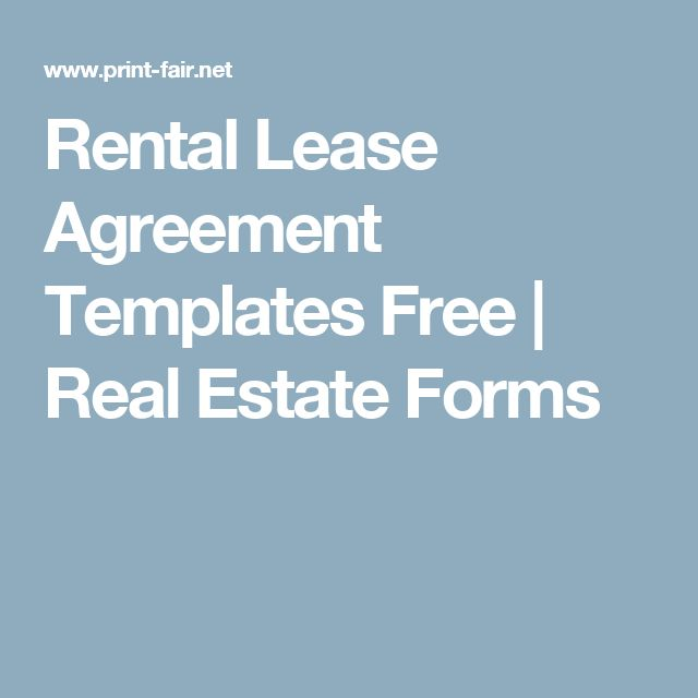 Rental Lease Agreement Templates Free | Real Estate Forms