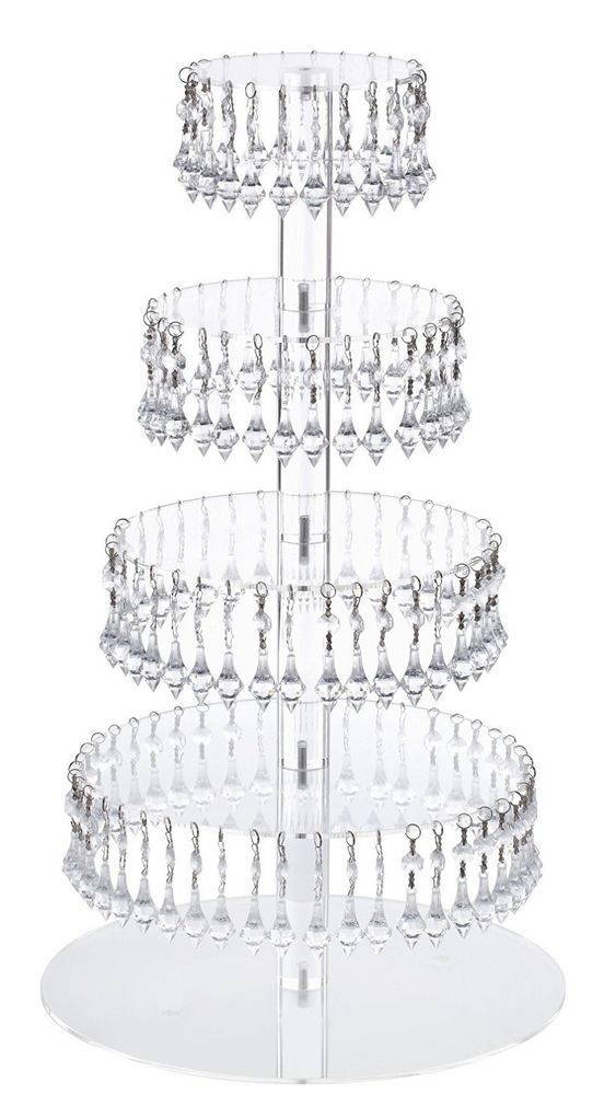 5 Tier Round Acrylic Cupcake Tower Stand Wedding Cake Holder Pastry Platter New  #Jusalpha