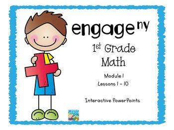 These PowerPoints are designed to support the Engage NY, First Grade Math Curriculum.  The PowerPoints go along with your curriculum. They are a visual for the students and they help the teacher keep the lessons flowing.  It is a very effective teaching tool, which includes the Fluency Practice, Application Problem, Concept Development, and the Student Debrief.These PowerPoints are for Module 1, Lessons 1 - 10.